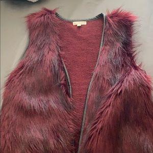 Maroon fuzzy vest